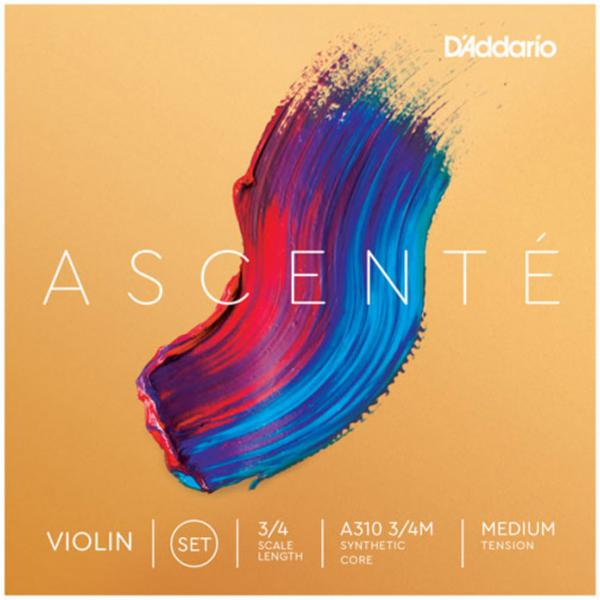 Cuerdas para violín D'addario Ascenté Violin A310, 3/4 Scale, Medium Tension