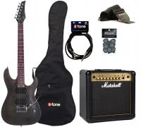 Packs guitarra eléctrica Eastone METDC +Marshall MG15FX Gold +Accessories - Black satin