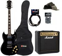 Packs guitarra eléctrica Eastone SDC70 +Marshall MG15FX Gold +Accessoires - Black