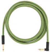Cable Fender Festival Pure Hemp Instrument Cable, Straight/Angle, 10ft - Green