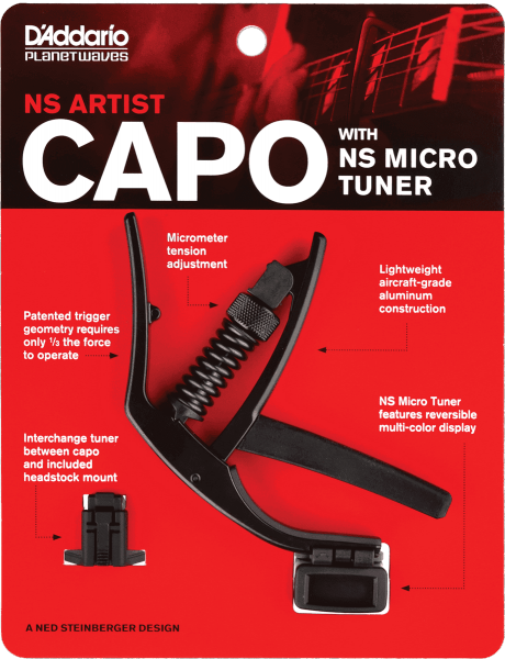 Cejilla Planet waves NS Artist Capo with NS Micro Headstock Tuner