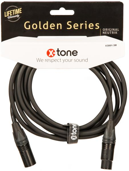 Cable X-tone X3001-3M - XLR(M) / XLR(F) Golden Series
